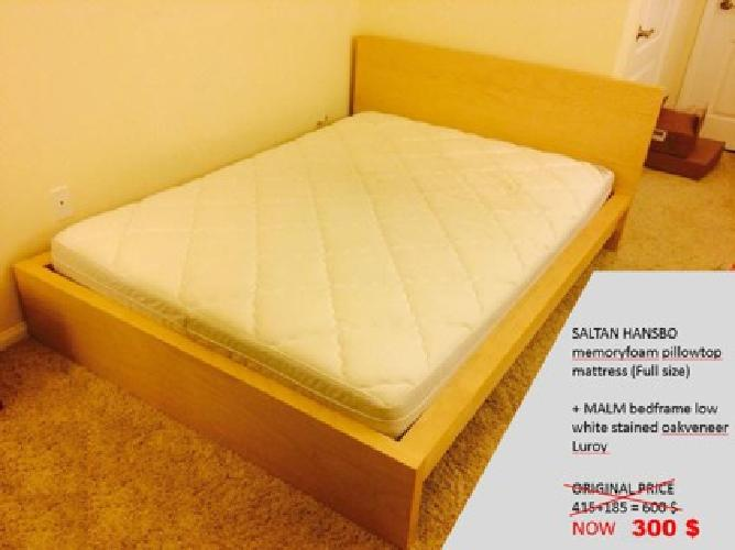ikea memory foam mattress malm bed frame full size used for sale in los angeles california. Black Bedroom Furniture Sets. Home Design Ideas