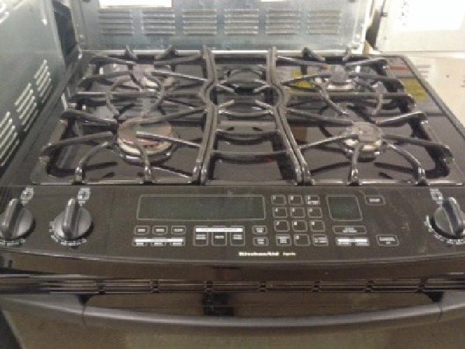 KitchenAid ceramic top, sealed burner, convection oven, stainless gas range