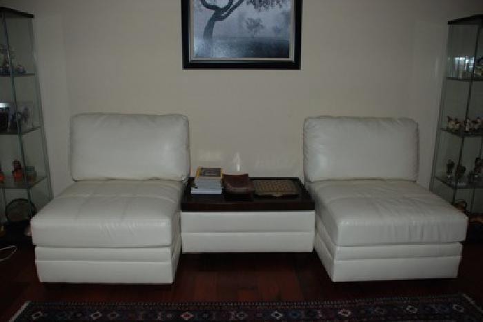 Leather chair sofa white set of 2 and accent ottoman