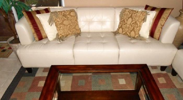 Like New Alessia Pearl Leather Tufted Sofa by Macy's
