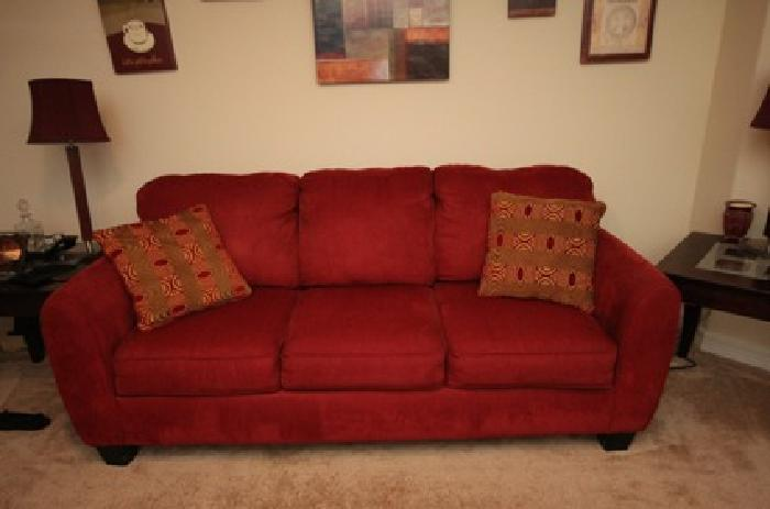 Living Room Furniture -- couch, loveseat, tables, rug, lamps