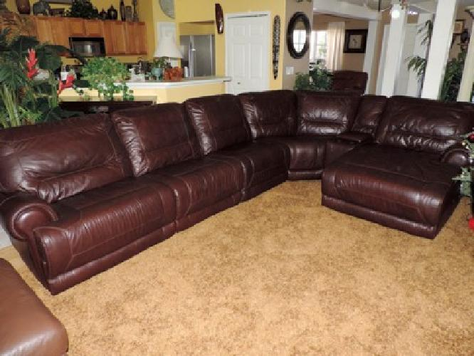 Macy's Burgundy Leather Triple Reclining Theater Sectional