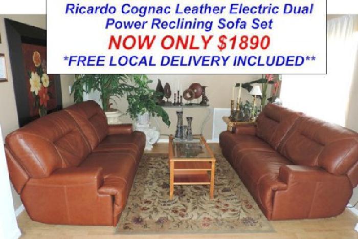 Macy's Ricardo Cognac Leather Dual Power Reclining Sofa Set