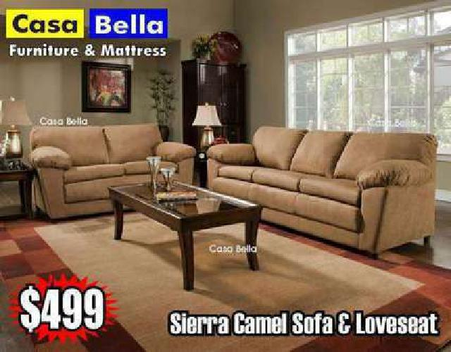 Microfiber Camel Modern Sofa and Loveseat