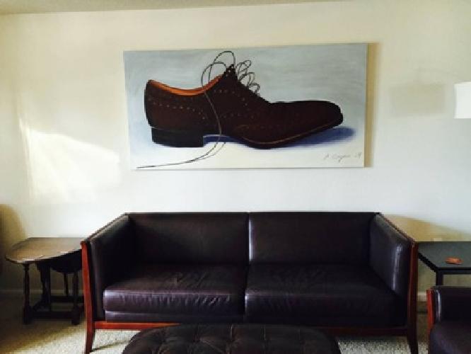 Rare Maurice Villency Brown Leather Sofa