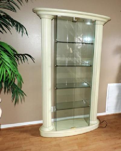 Roman Style Lighted Glass Curio Cabinet