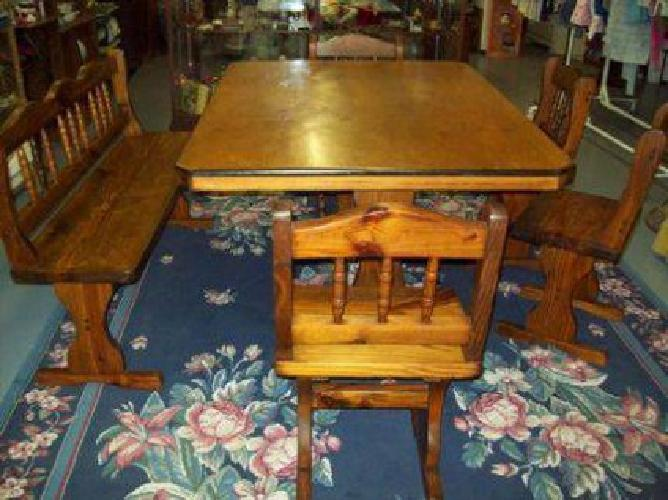 superb farm style dining table long bench 4 chairs solid