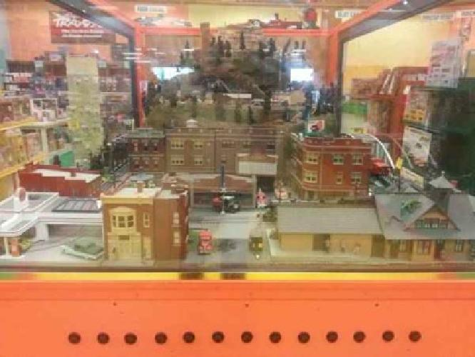 Three-Scale Operating Model Railroad Train Layout Display