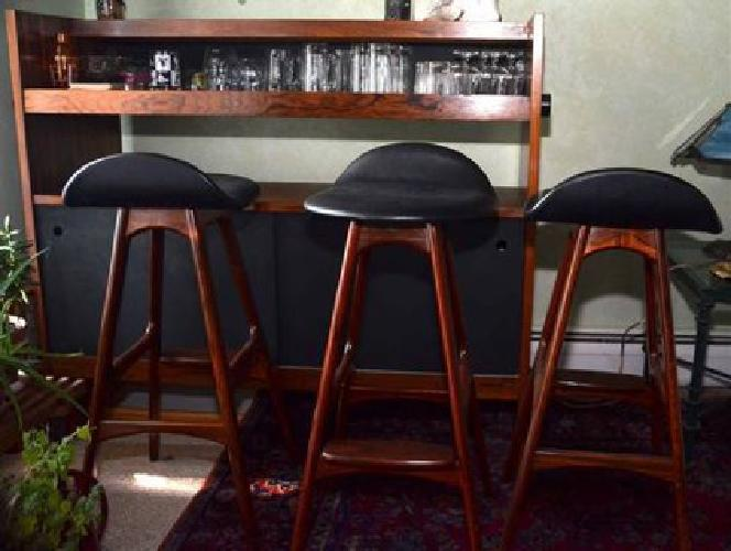 Used Bar, Modern Danish, Cherry Wood + 3 Bar Stools