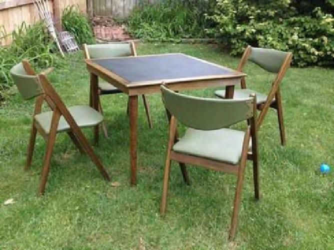 Vintage 1950 S Mid Century Coronet Wonderfold Card Table And 4 Chairs