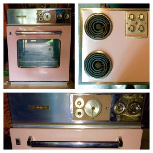 Vintage Kitschy Retro Pink Hotpoint Cooktop and Oven
