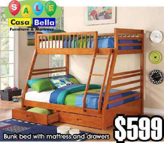 Wood Bunk Bed with Drawers, Mattress Included
